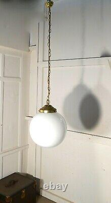 12 in Stock Very Big French Art Deco Globe Opaline Glass Hanging Pendant Lights