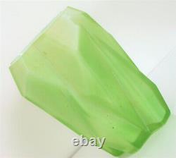1928 Reuben Haley Ruba Rombic Vase Green Cubist Art Glass Opaline Interior