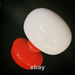 1960' Vintage Retro Orange Red Opaline Glass Lamp Pop Art Magic Mushroom