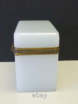 19thc Antique French White Opaline Glass Tea or Sugar Box Casket Bronze Lock