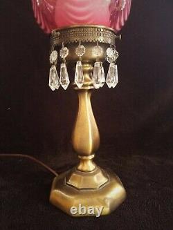 20 Fenton Country Cranberry Opalescent SWIRL Drapery Lamp -Signed Scott Fenton