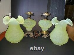 2 Fenton L. G. Wright Daisy & Fern Yellow Topaz Vaseline Opalescent Hurricane Lamp