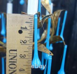 30 art glass Turquise Opaline Blue gilt lamp chandelier sconce part 3.75 prisms