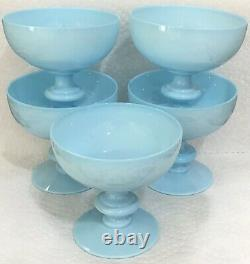 5 Sherbets Coupe Champagne Portieux Vallerysthal PV France Blue Aqua Opaline