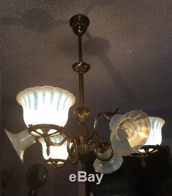 ANTIQUE ca. 1900 3/3 Gas & Electric Chandelier Orig Opalescent Art Glass Shades