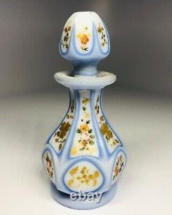 Antique 19th Century Bohemian Opaline Glass Hand-Painted Perfume Bottle 3.5