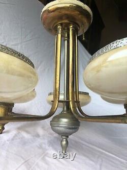 Antique Art Deco Opalescent Slip Shade Semi-Flush Hanging Chandelier RESTORE