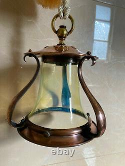 Antique Arts Crafts Copper Vaseline Opalescent Uranium Lamp Glass Shade Lantern