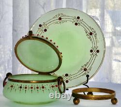 Antique Attr Moser Apple Green Opaline Beaded Gilded Dresser Box w Plate c1880