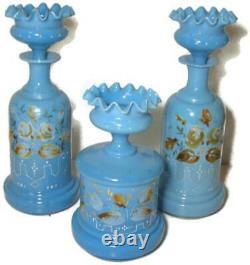 Antique Baccarat Blue Opaline w Enamel Flowers Vanity Set Bottle & Puff Box