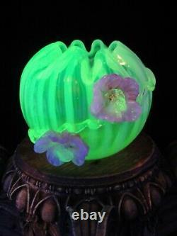 Antique Bohemian Harrach Uranium Opalescent Art Glass Vase Applied Pink Flower