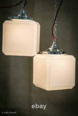 Antique Early 20th Century Single Art Deco Cube Opaline Pendant Lamp Light