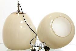Antique Early 20th Century Single Art Deco Tulip Opaline Pendant Lamp Light