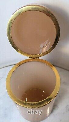 Antique French Art Glass Pale Pink Opaline Jar Ormolu Mounts 6 1/8 Beautiful