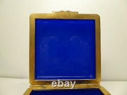 Antique French Cobalt Blue Opaline Box Gilded Ormolu Mounted Baccarat Glass