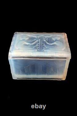 Antique French Costebelle Art Deco opalescent Boudoir Box c 1930, signed