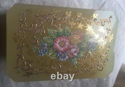Antique French Floral Enameled Opaline Glass & Ormolu dresser Casket, Jewelry Box