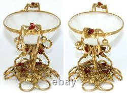 Antique French Napoleon III White Opaline'Vide Poche', Bonbon, Glass Berries