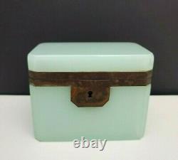 Antique French Opaline Art Glass Jewelry Casket Box Celadon Green Glass