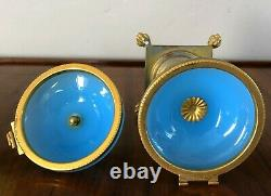 Antique French Opaline Blue Glass Lidded Footed Gold Gilt Ormolu Box Jar As Is