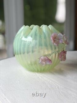 Antique Harrach Or Stevens & Williams Vaseline Opalescent Glass Rose Bowl 1890s