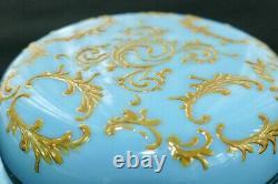 Antique MOSER Blue Opaline Milk Glass Gold Enamel Filigree Trinket Dresser Box