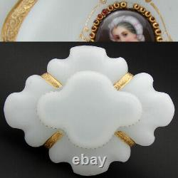 Antique Moser or French White Opaline 9 Jardiniere, Centerpiece, HP Portraits