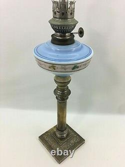 Antique Oil Lamp Kosmos Brenner Art Nouveau / Metal and Opaline Blue Glass