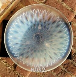 Antique Opalescent Glass Crystal Bowl Dish FRANCE Lalique STUNNING Footed 12