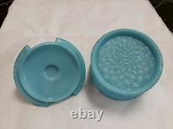 Antique Portieux Vallerysthal Blue Opaline Milk Glass Covered Powder Jar / Dish