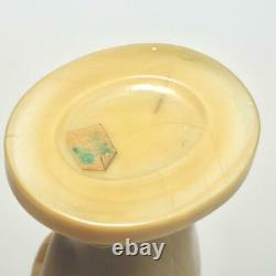 Antique Portieux Vallerysthal Caramel Opaline Hand Cornucopia Vase, 8