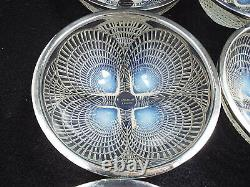 Antique R Lalique Crystal Coquilles 6 Opalescent Bowls #3204 with 950 Silver Rims