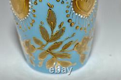 Antique Rare Moser1880s Small Blue Opaline Gilt Enameled Glass Perfume Bottle