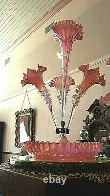 Antique Victorian Art Glass 4 Lily Cranberry Opalescent Epergne Crystal Rigaree