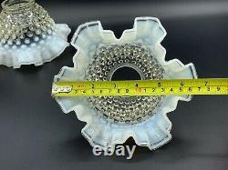 Antique Victorian Hand Blown White Opalescent Hobnail Art Glass Lamp Shades Pair