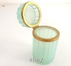 Antique Vintage Cut Glass Opaline Casket French Bohemian Venetian