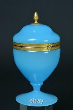 Antique turquoise opaline glass Trinket Box Casket gilt brass mount Art Nouveau