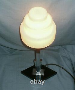Art Deco Chrome Lamp With Geometric Base & Stepped Opaline Glass Shade