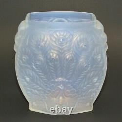 Art Deco ETLING Opalescent Peacock Vase Signed/Labeled c. 1930 Lalique Sabino Era