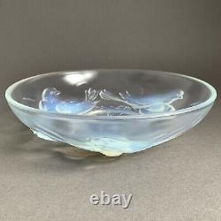 Art Deco Ezan France Opalescent Glass Bowl Nesting Birds