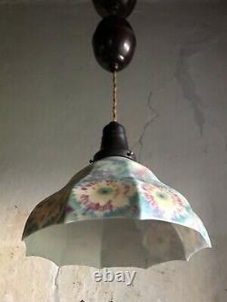 Art Deco Rise & Fall Ceiling Light by NIKO BELGIUM Bakelite & Opaline Shade