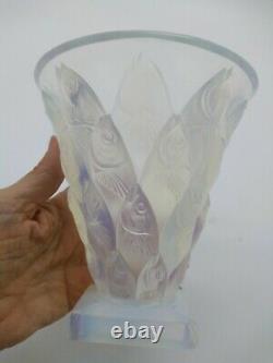 Art Deco SABINO OPALESCENT glass #v21 POISSONS fish VASE Paris France