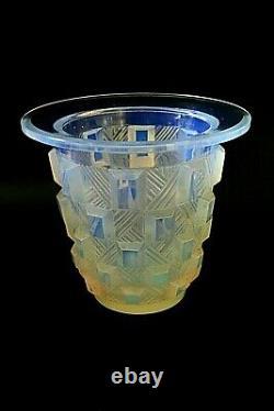 Art Deco Sabino Damier Rond Opalescent Glass Vase