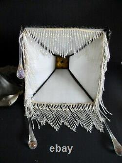 Art Deco vintage lamp with bent opalescent slag glass and glass bead fringe