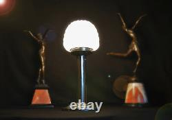 Art deco 1940s desk lamp stepped base Tubular Column Geometric Opaline Shade