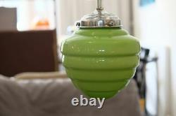 Art deco suspension lamp 1920/30. Green opaline glass! Original