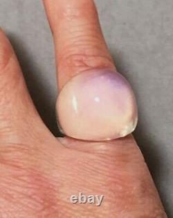 Authentic $280 LALIQUE France Opalescent White Cabochon Crystal Ring T48 4.5 NIB