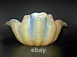 Barovier Toso square Murano Cordonato d'Oro 24k Gold Rope opaline art glass bowl