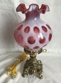 Beautiful Fenton Art Glass Cranberry Opalescent Coin Dot Lamp G10