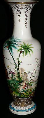 C1850 opaline glass vase, Baccarat, Jean-Francois Robert, Ostrich, Ibis, 17.5t